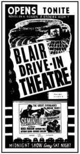 Poster of the First Drive-in movie in Belleville, KS.